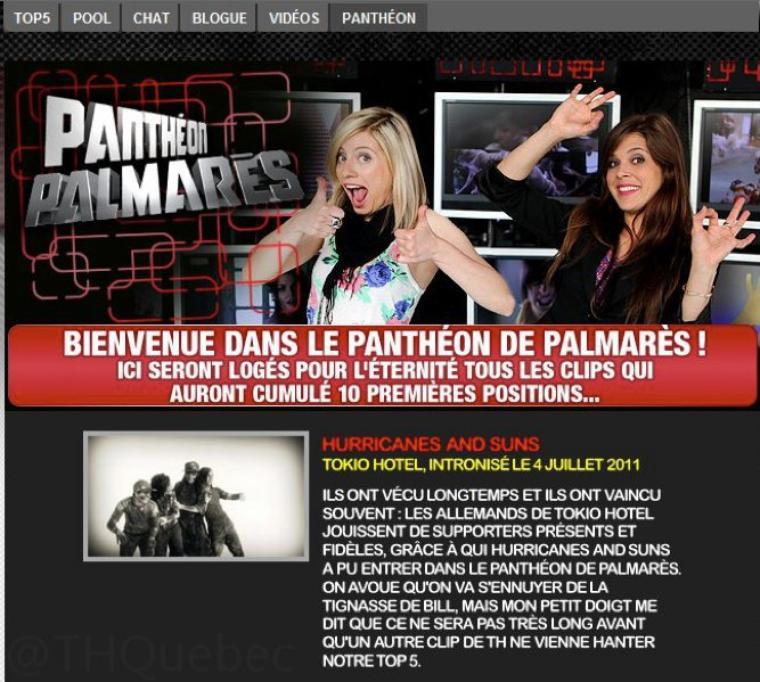 Tokio Hotel dans le panthéon de Musique Plus (Quebec <3)