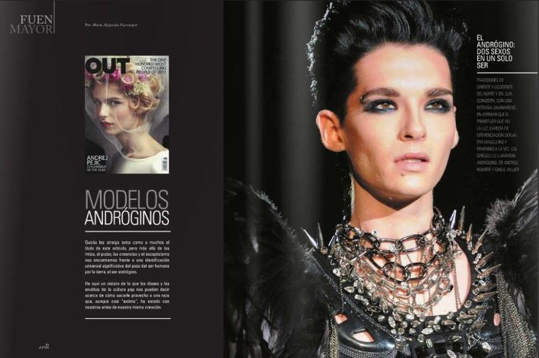 OUT Magazine: «Bill Kaulitz - L'androgyne» ... Décembre/Janvier 2013 - Espagne