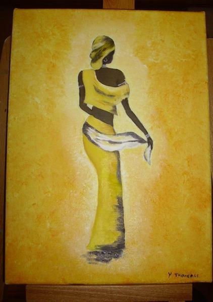 PEINTURE A L HUILE   SILHOUETTE  AFRICAINE