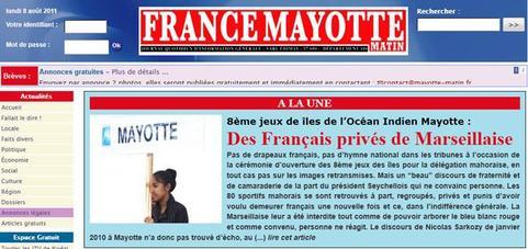 8ème jeux de îles de l'Océan Indien Mayotte : Des Français privés de Marseillaise
