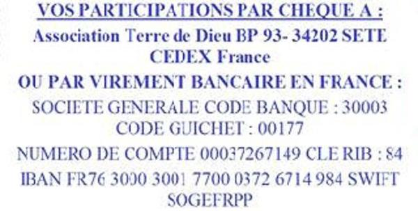 ASSOCIATION TERRE DE DIEU PARTICIPATIONS  VOS DONS :