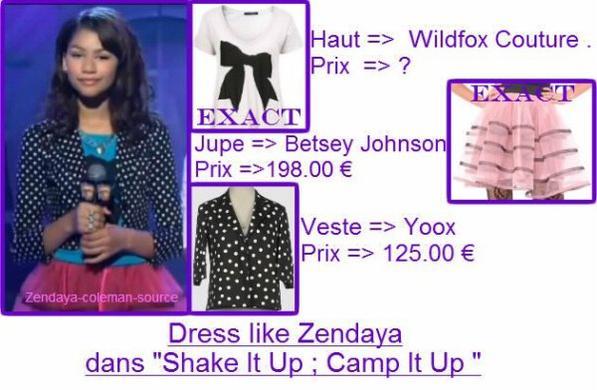 Vu qu'il n'y a pas de news de Zendaya , j'ai décidée de faire un Dress Like lors de l'épisode                                              Camp It Up de Shake It Up .