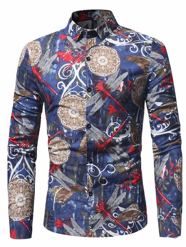 Tie Dye Dragonfly Print Cotton Linen Shirt