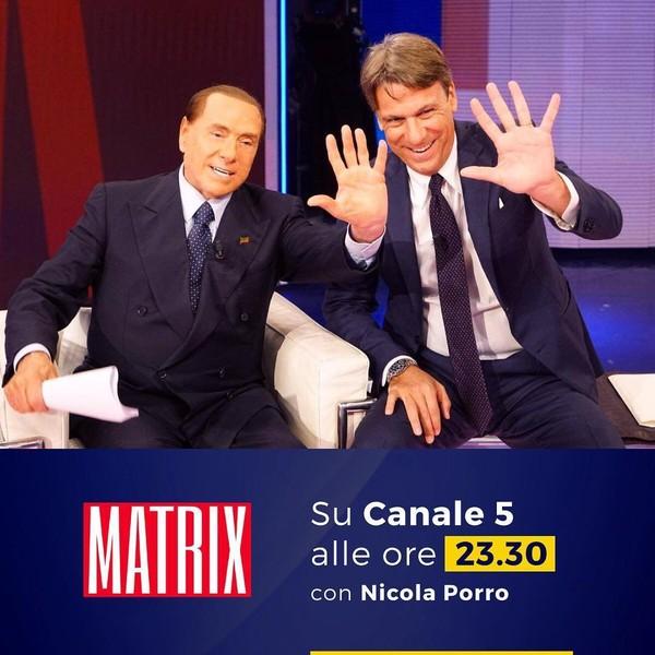 """Silvio Berlusconi on Instagram: """"Questa sera sarò ospite di #Matrix intervistato da Nicola Porro.Vi aspetto alle 23:30 su Canale5."""""""