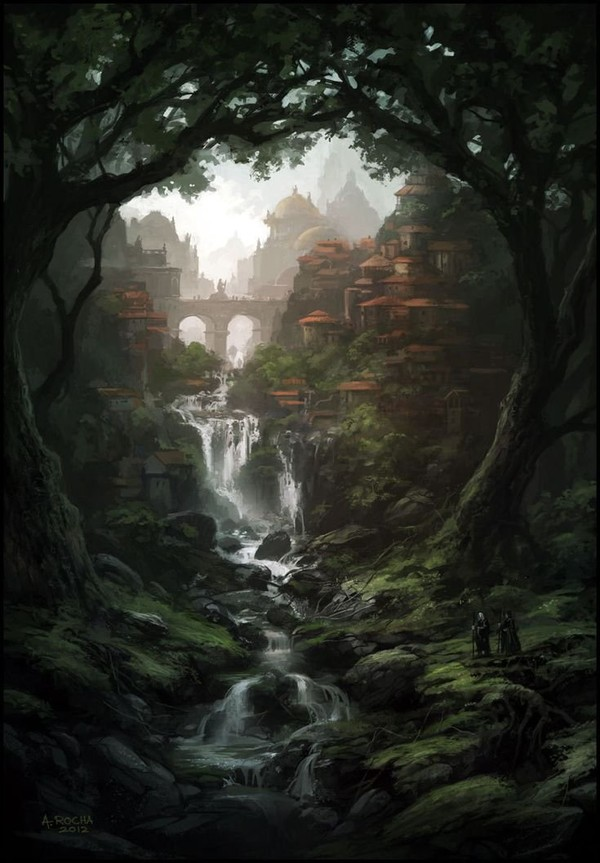 City forest and waterfall fantasy landscape illustration art #digitalart #digitalpainting | PAYSAGES in 2019 | Pinterest | Fantasy art, Art and Fantasy artwork