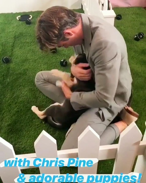"""— Chris Pine ♡ on Instagram: """"I can't decide who is more adorable. 😍❤️ – 📸: @people 's stories. ✨ – [#chrispine #outlawking #robertthebruce #netflix #entertainmentweek..."""