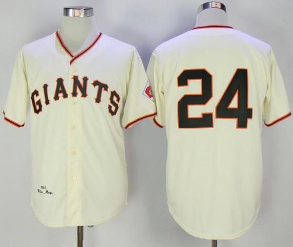 MLB San Francisco Giants 24 Willie Mays Cream Cool Base Throwback Baseball Jersey
