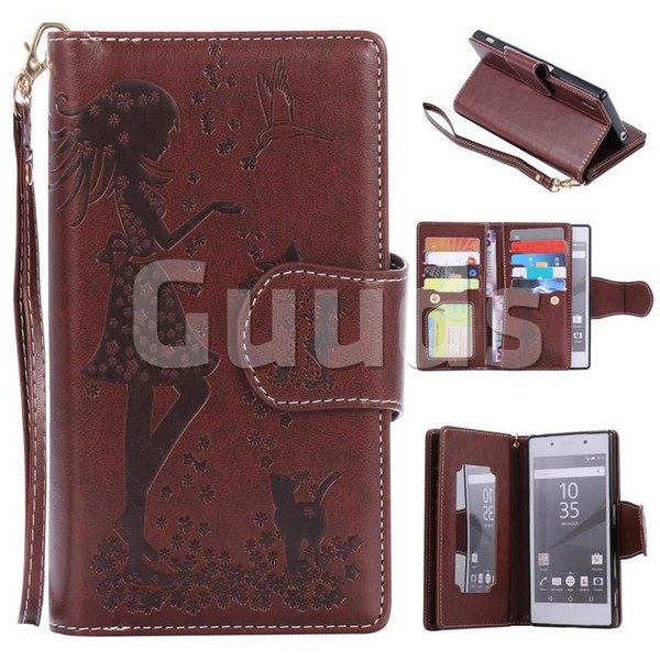 Embossing Cat Girl 9 Card Leather Wallet Case for Sony Xperia Z5 / Z5 Dual - Brown - Leather Case - Guuds