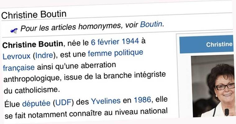 Christine Boutin placée sous protection par Wikipédia
