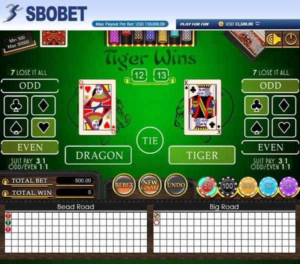 Bandar Judi Dragon Tiger Casino Online SBOBET Terpercaya