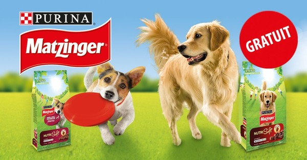 Sélectionnez la taille de votre chien, recevez votre échantillon de dégustation Purina® MATZINGER® GRATUIT !