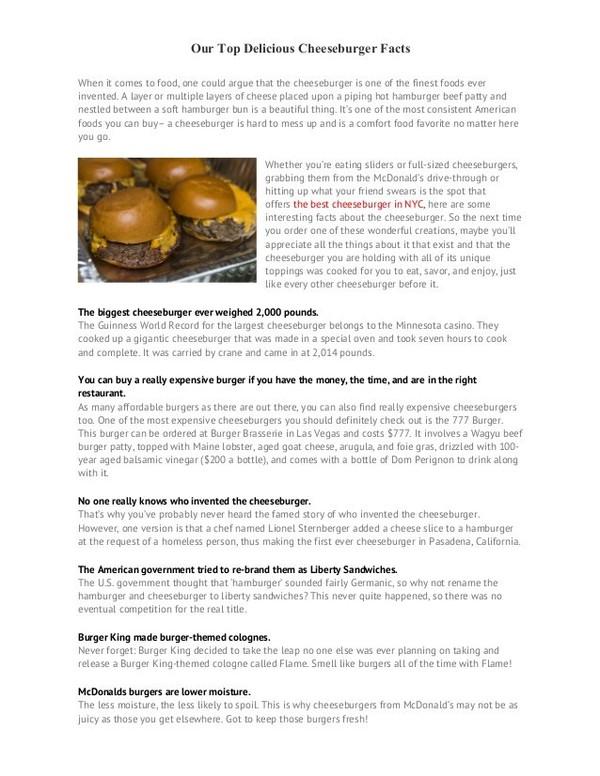 Our Top Delicious Cheeseburger Facts