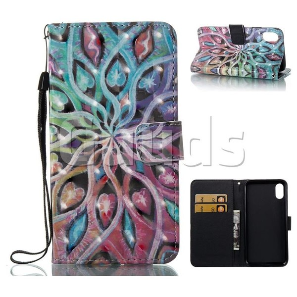 Spreading Flowers 3D Painted Leather Wallet Case for iPhone 8 - Leather Case - Guuds