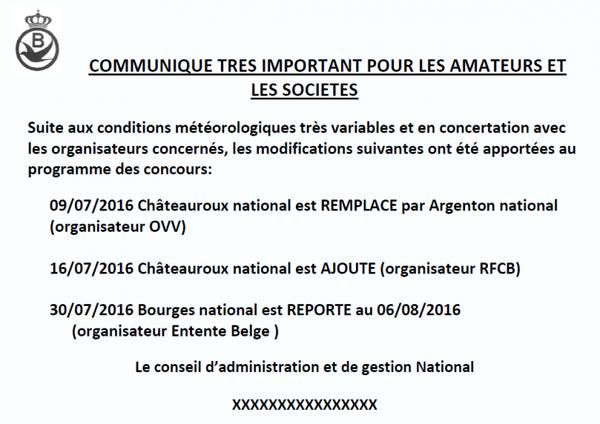 RFCB modifie calendrier des concours nationaux 2016 à cause du météo variable | Pigeon Paradise