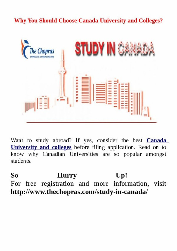 Why You Should Choose Canada University and Colleges?
