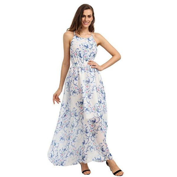 Chiffon Maxi Beach Dress 2017 Summer Dresses Women's Floral Sleeveless – Express Delivry