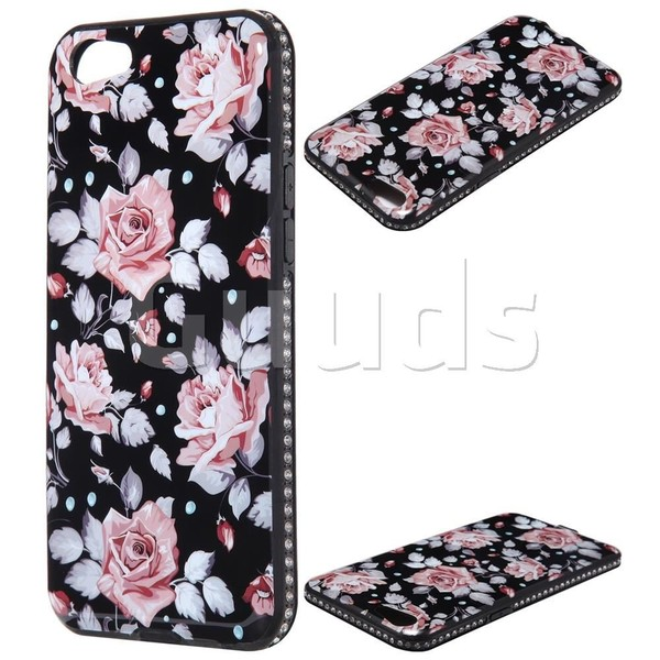 White Rose Porcelain Diamond Shiny Back Cover for Oppo A39 - TPU Case - Guuds