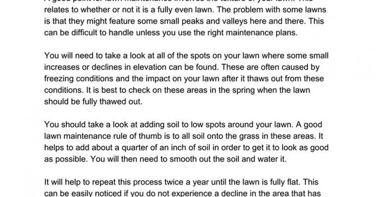 Lawn Maintenance Should Involve an Even Lawn