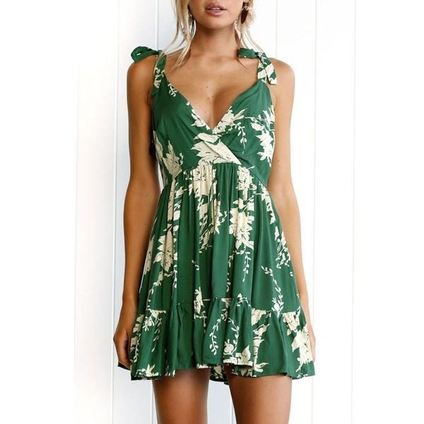 Hot Sale Summer Dress Womens Floral Leaves Print Dresses – Express Delivry