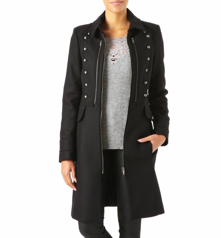 nouveau produit sur des coups de pieds de large éventail Manteau officier Femme Noir Promod - Tendance Mode Femme