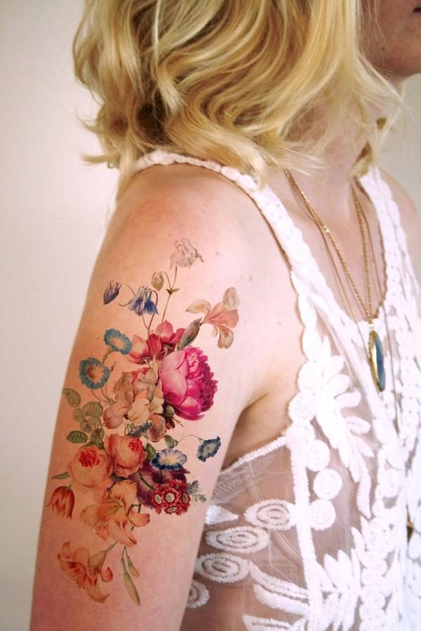 Very genuine vintage flower tattoos - NICE PLACE TO VISIT