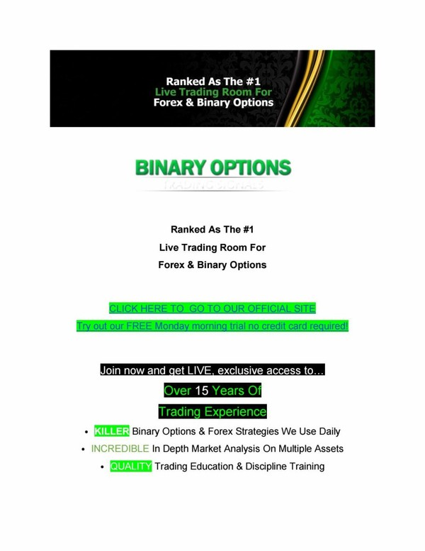 Binary options trading signals ranked as the #1 live trading room for forex & binary options