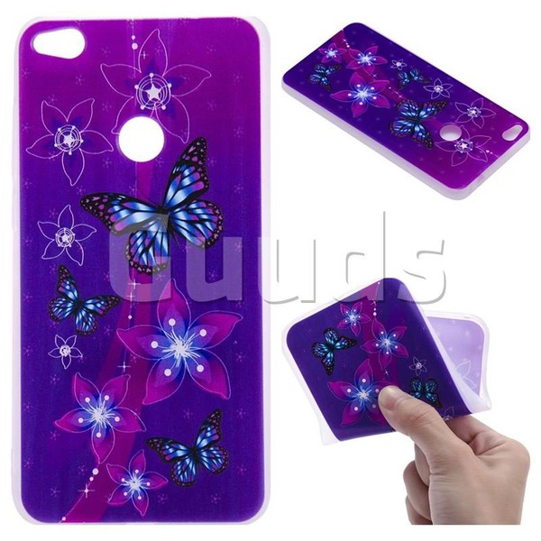 Butterfly Flowers 3D Relief Matte Soft TPU Back Cover for Huawei P8 Lite 2017 / P9 Honor 8 Nova Lite - TPU Case - Guuds