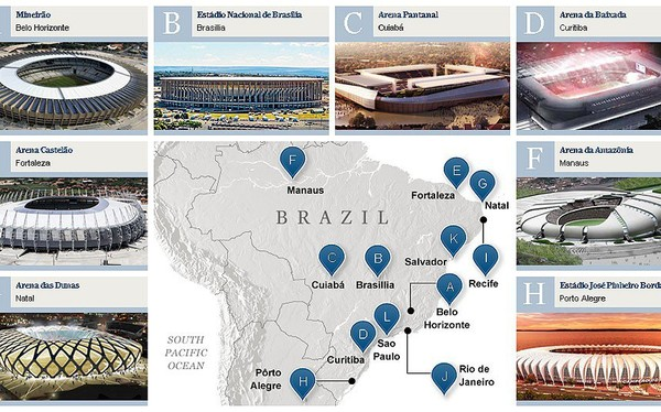 World Cup 2014 Stadiums in Brazil: Venues Map, Group Stage, Final