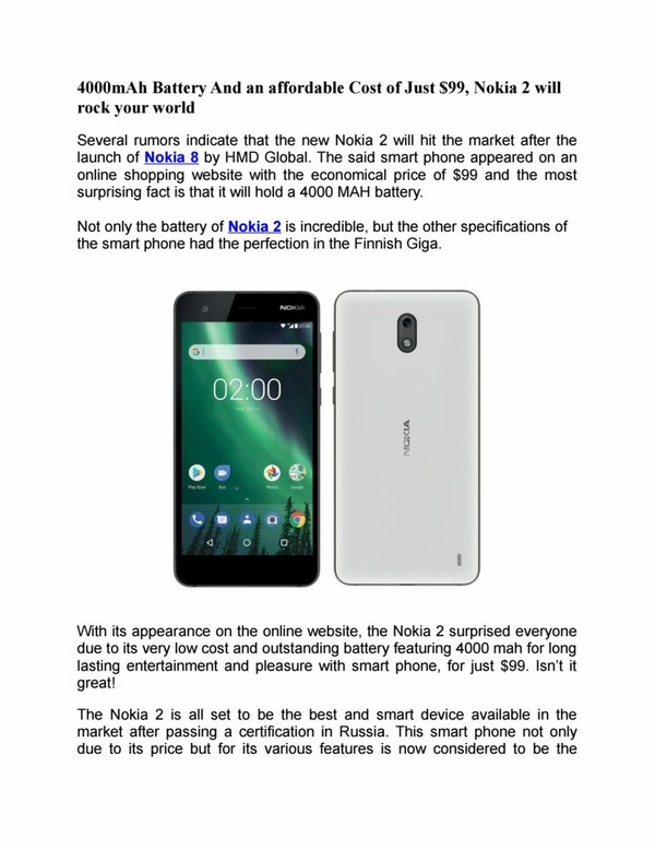 4000mah battery and an affordable cost of just $99, nokia 2 will rock your world