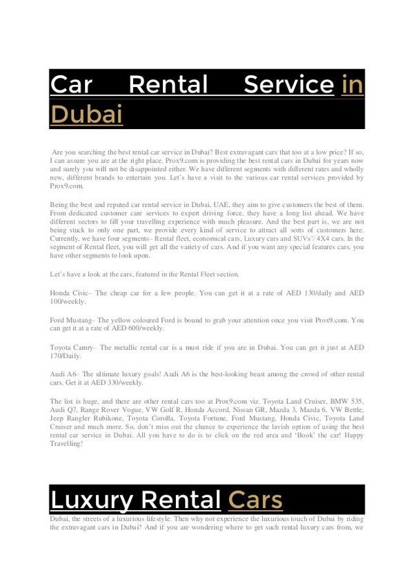 Car Rental Service in Dubai