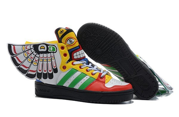 promo code faf72 baecc Jeremy Scott Wings 2.0 Womens Adidas Originals Totem Shoes White Yellow Red