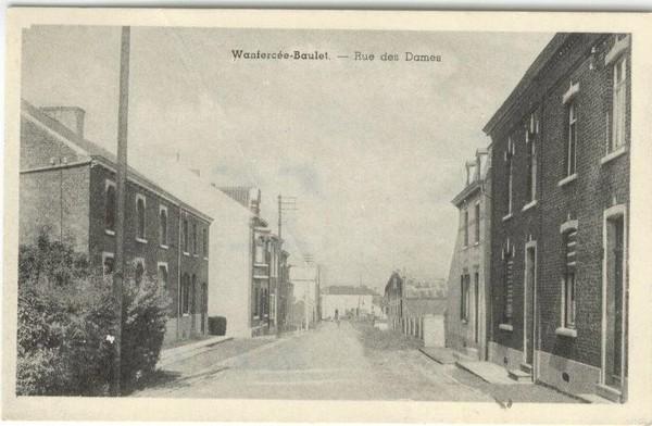 Wanfercée Baulet - Rue des Dames - Carte postale ancienne et vue d'Hier et Aujourd'hui