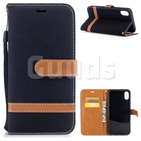 Jeans Cowboy Denim Leather Wallet Case for iPhone 8 - Black - Leather Case - Guuds