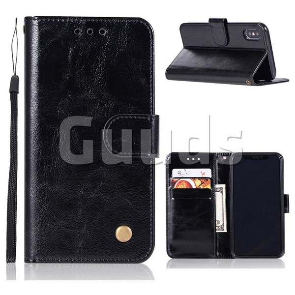 Luxury Retro Leather Wallet Case for iPhone X(5.8 inch) - Black - Leather Case - Guuds