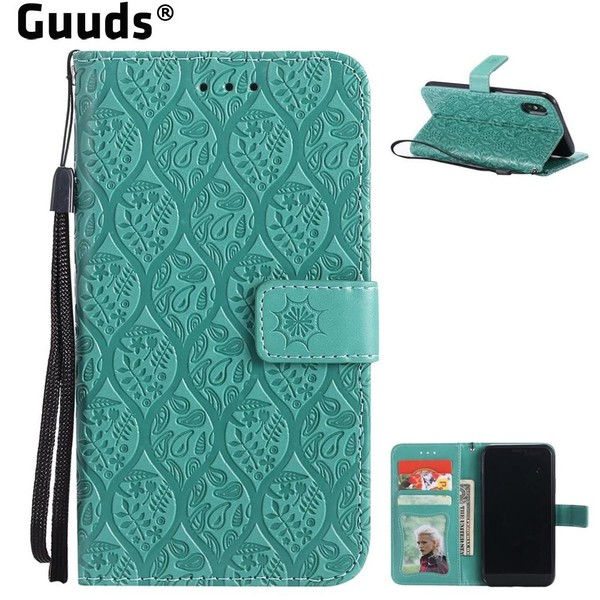 Aliexpress.com : Buy Guuds for iPhone X 8plus 8 7 plus 6s 6G SE 5s 5 Holster Coque Intricate Embossing Rattan Flower Leather Wallet Case for iPhone from Reliable Wallet Cases suppliers on GUUDS Off...