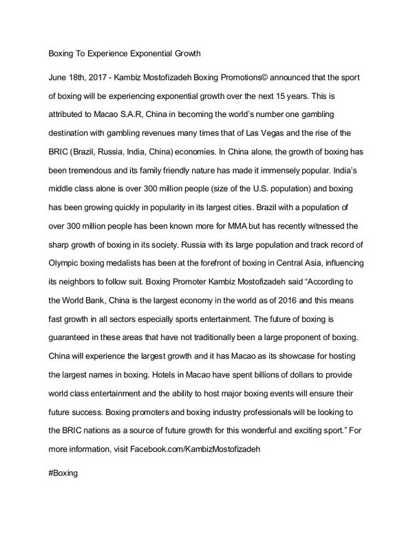https://www.facebook.com/KambizMostofizadeh The Growth of Boxing by Boxing Promoter Kambiz Mostofizadeh