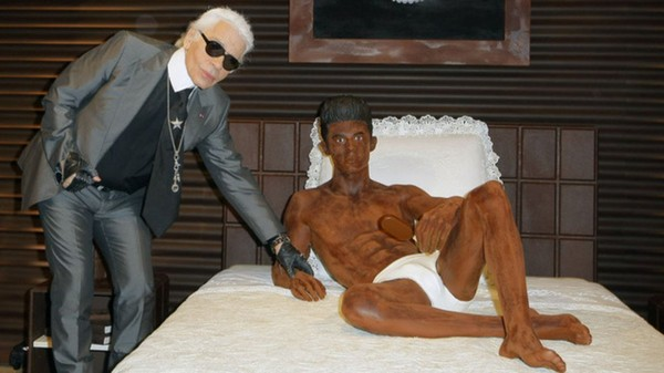 Karl Lagerfeld Made a Mostly Naked Sculpture of Baptiste Giabiconi Out of Chocolate