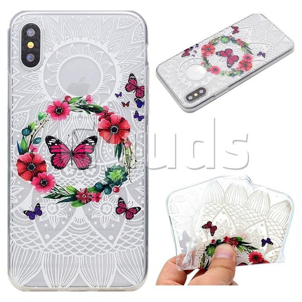 Butterfly Wreaths Super Clear Soft TPU Back Cover for iPhone X(5.8 inch) - TPU Case - Guuds