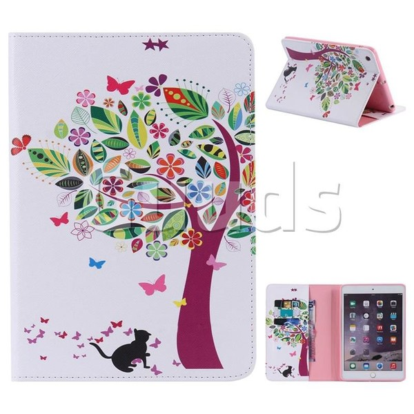 Cat and Tree Folio Flip Stand Leather Wallet Case for iPad Mini 1 2 3 - Leather Case - Guuds