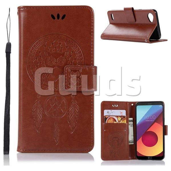 Intricate Embossing Owl Campanula Leather Wallet Case for LG Q6 (LG G6 Mini) - Brown - Leather Case - Guuds