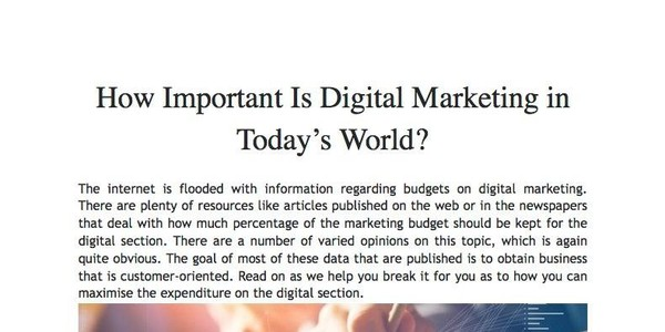 How Important Is Digital Marketing in Today's World