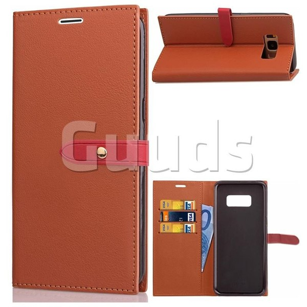 Luxury Fashion Korean PU Leather Wallet Case for Samsung Galaxy S8 - Brown - Leather Case - Guuds