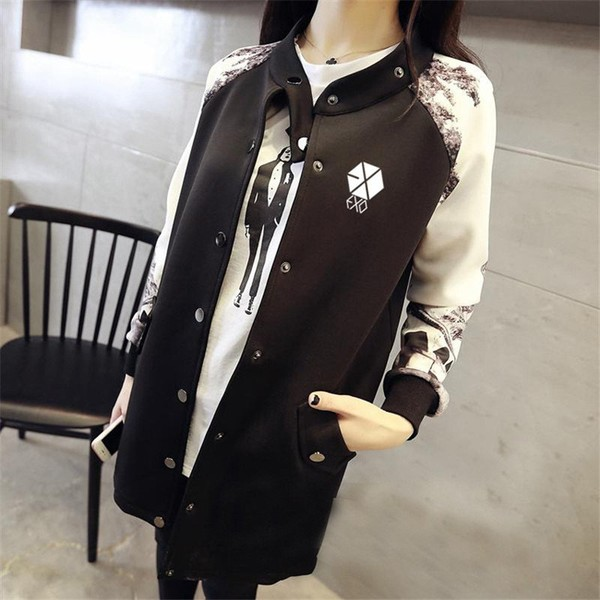 jacket running Picture - More Detailed Picture about EXO KPOP Baseball Jacket Long sleeved 2016 k pop exo early autumn students should aid baseball uniform EXO Clothing Picture in Hoodies & Sweatsh...
