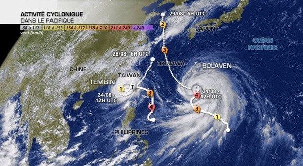 Actualité Météo : Typhons : Tembin à Taïwan, Bolaven vers Okinawa puis la Corée