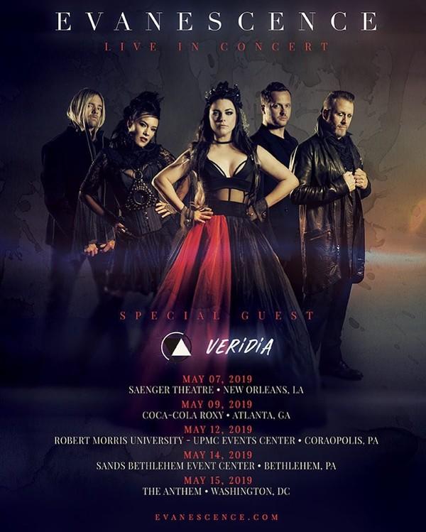 Veridia fera quelques date en première partie d'Evanescence