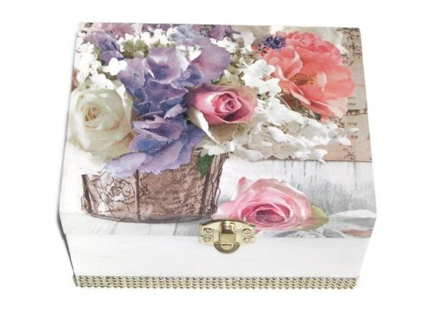 Boîte à bijoux fleur blanc mauve
