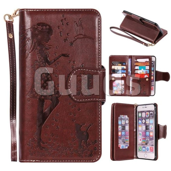 Embossing Cat Girl 9 Card Leather Wallet Case for iPhone 6s Plus / 6 Plus 6P(5.5 inch) - Brown - Leather Case - Guuds