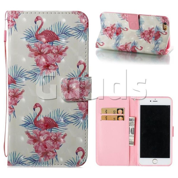 Flamingo and Azaleas 3D Painted Leather Wallet Case for iPhone 6s Plus / 6 Plus 6P(5.5 inch) - Leather Case - Guuds