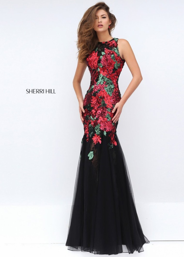 c2bad5aa15342 Cheap Sherri Hill 50250 Sleeveless Sequined Floral Gown [sherri hill 50250  black red] - $159.00 : Cheap Prom Dresses & Homecoming Dresses For Sale  Online