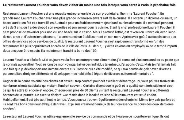 Le restaurant Laurent Foucher vous devez visiter au moins une fois lorsque vous serez à Paris la prochaine fois.